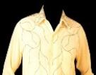 רקמה על חולצה מכופתרת צהובה