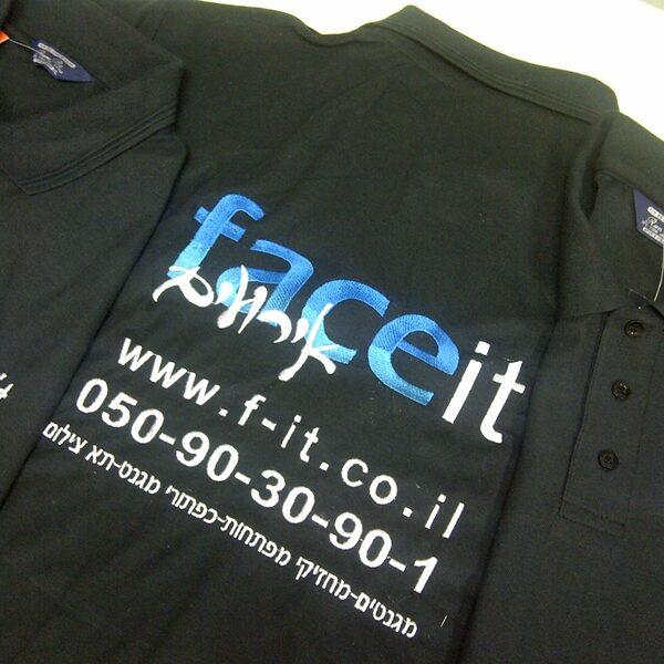 """קד""""מ ופרסום- רקמה על חולצות פולו לחברת פייס איט אירועים"""
